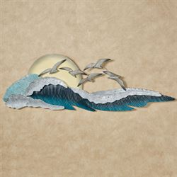 Seagull Waves Wall Art Blue