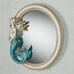 Adella Mermaid Oval Accent Wall Mirror White