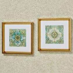 Cool Elegance Medallion Framed Print Wall Art Multi Cool Set of Two