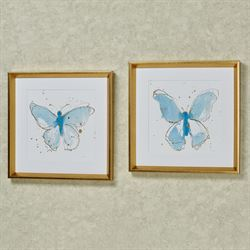 Butterfly Framed Print Wall Art Blue Set of Two