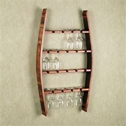 Reese Wine Glass Wall Rack Mission Red Oak