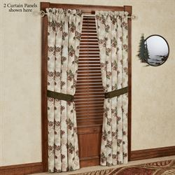Forest Pine Tailored Curtain Panel Multi Warm 48 x 84