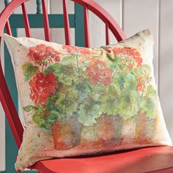 Geranium Floral Decorative Pillow Multi Warm Rectangle