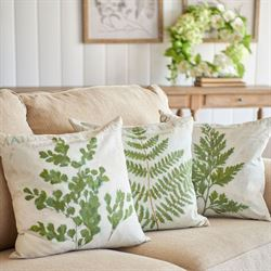 Botanical Fern Decorative Pillows Green Set of Three
