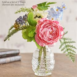 In Bloom Floral Arrangement Vases Multi Pastel Set of Two