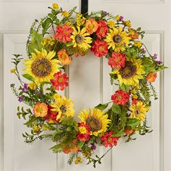 Golden Glow Floral Wreath Multi Warm
