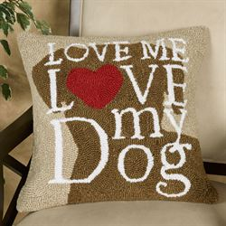 Dog Love Decorative Pillow Brown 18 Square