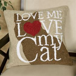 Cat Love Decorative Pillow Brown 18 Square