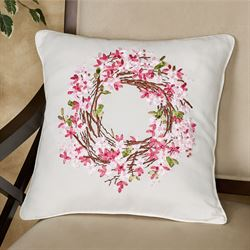 Blossom Wreath Floral Decorative Pillow Pink 16 Square