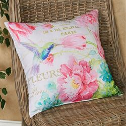 Hummingbird Indoor Outdoor Decorative Pillow Multi Pastel 18 Square