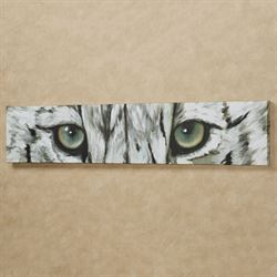Snow Leopard Eyes Canvas Wall Art Gray
