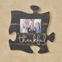 Thankful Photo Frame Puzzle Piece Weathered Black