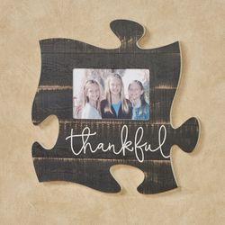 Thankful Photo Frame Puzzle Piece Weathered Black
