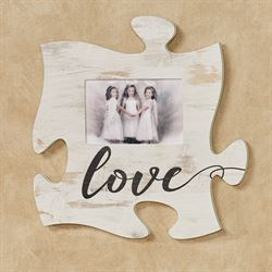 Love Photo Frame Puzzle Piece Weathered White