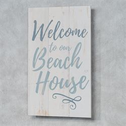 Welcome to Our Beach House Wall Plaque Weathered White