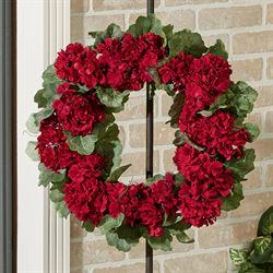 Geranium Floral Wreath Red
