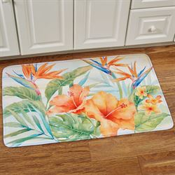 Tropical Flowers Cushioned Rectangle Mat Multi Bright 35 x 22
