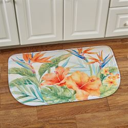 Tropical Flowers Cushioned Slice Mat Multi Bright 30 x 18