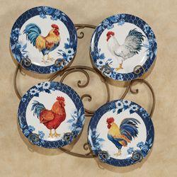 Indigo Rooster Dinner Plates Blue Set of Four