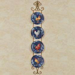 Indigo Rooster Dessert Plates Blue Set of Four