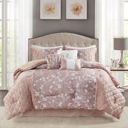 Marling Comforter Bed Set Pale Blush