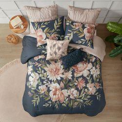Camillia Comforter Bed Set Dark Blue