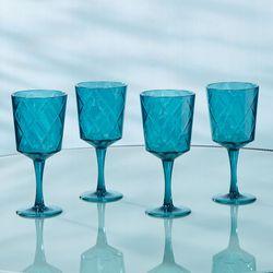 Acrylic Drinking Goblets Aqua Set of Four