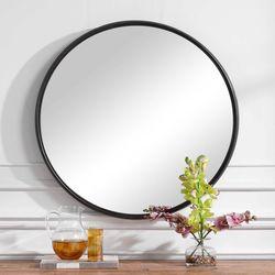 Belham Round Wall Mirror Black