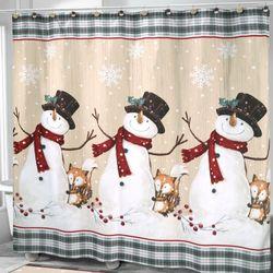 Friends Gather Snowman Shower Curtain Multi Warm