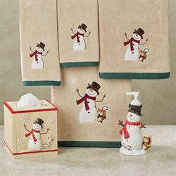 Friends Gather Snowman Bath Set Multi Warm Six Piece Set