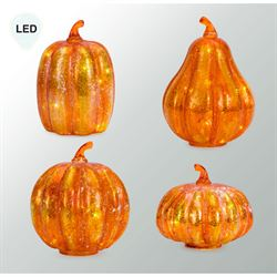 Autumn Glow LED Pumpkin Table Accents Orange Set of Four