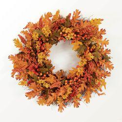 Oak Leaf and Berry Autumn Wreath Orange