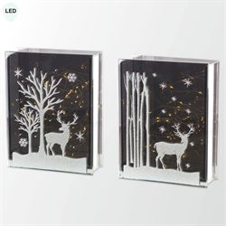 Deer Scene LED Lighted Table Accents Silver Set of Two