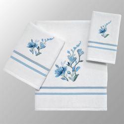 Garden View Bath Towel Set Blue Bath Hand Fingertip