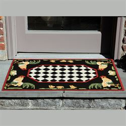 Roosters Black Rectangle Mat