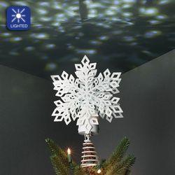 Sparkle Snowflake Tree Topper White