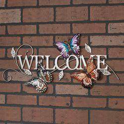 Butterfly Welcome Wall Art Multi Earth
