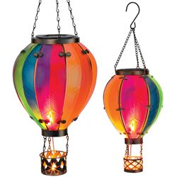 Small Rainbow Hot Air Balloon Solar Lantern Multi Bright