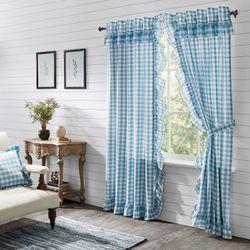 Annie Ruffled Curtain Pair Blue 80 x 84
