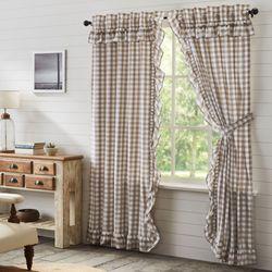 Annie II Ruffled Curtain Pair Brown 80 x 84