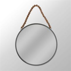 Round Wall Mirror with Beads Gun Metal