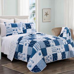 Watercolor Shells Mini Quilt Set Blue