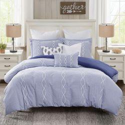 Coastal Farmhouse Comforter Bed Set Blue