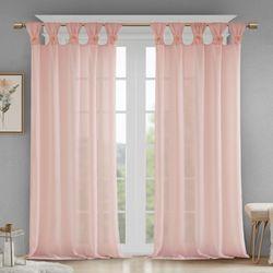 Rosette Semi Sheer Tab Top Curtain Panel