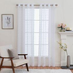 Falador Semi Sheer Grommet Curtain Panel White
