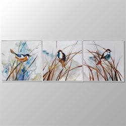 Feathered Friends Birds Canvas Wall Art Multi Earth Set of Three