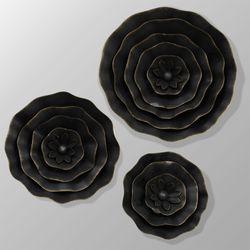 Selina Flower Wall Art Black Set of Three