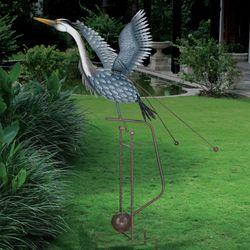 Kinetic Rocking Heron Sculpture Gray