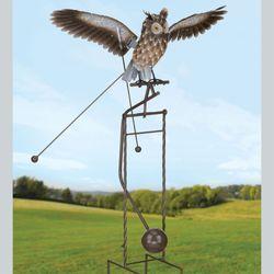 Kinetic Rocking Owl Sculpture Multi Earth