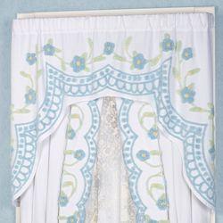Cottage Bloom Swag Valance Blue 60 x 40